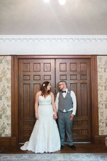 Newlyweds by the door