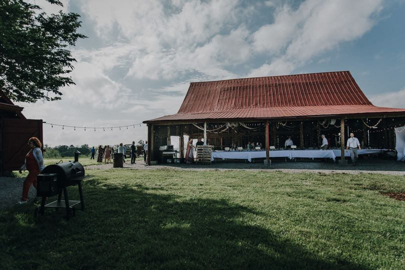 The barn set for the reception