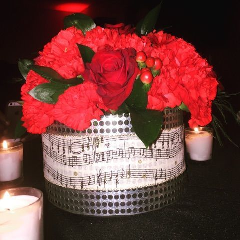 Red Rose and Carnation low centerpiece