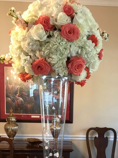 Tall Coral and White Centerpiece