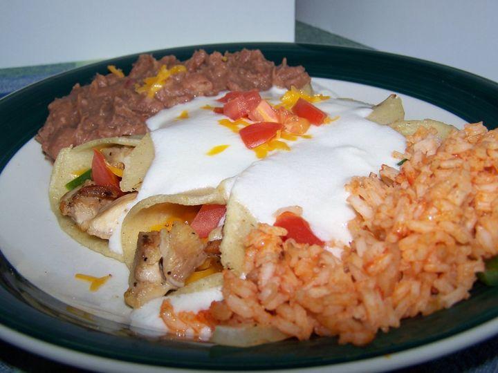 Here we have Chicken Fajitas Enchiladas w/a nice Sour Cream Sauce.
