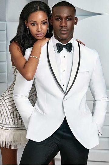 White tuxedo jacket with black piping