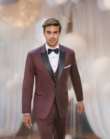 Burgundy suit with bow-tie