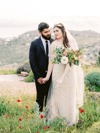 Newlyweds in pasture