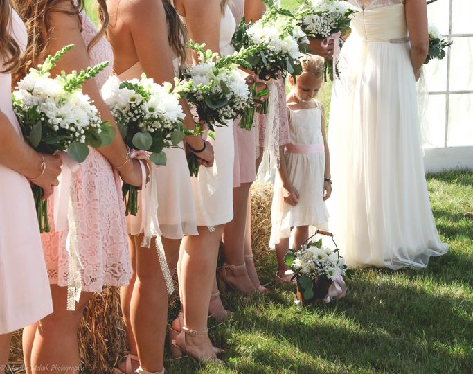 Bouquets of the bridesmaids and flower girl
