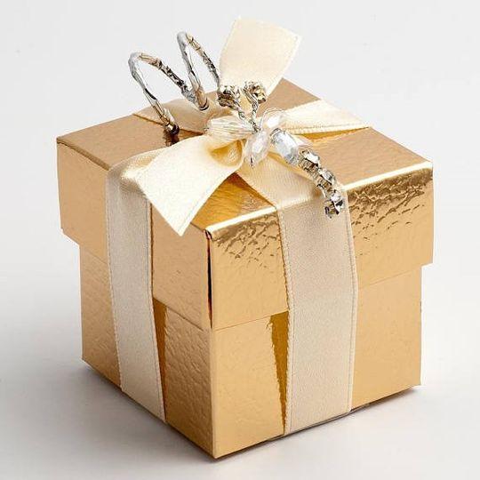 Gold Silk Square Box