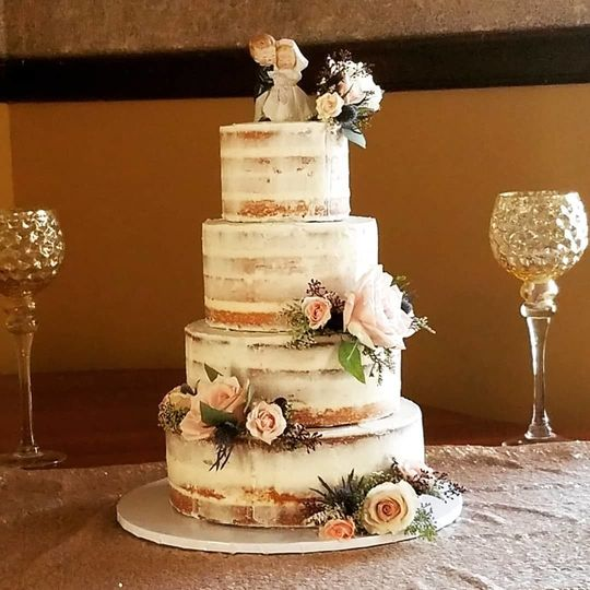 4 tier semi-naked cake design