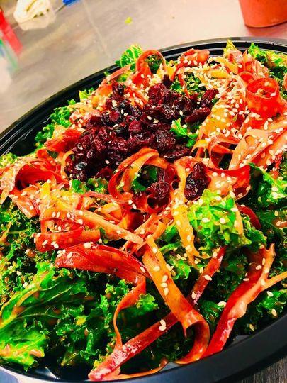 Messaged kale salad