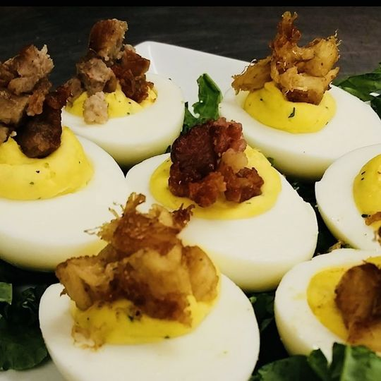 Gourmet Deviled Eggs w/ Crab meat!!