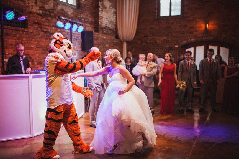 Dancing bride and mascot