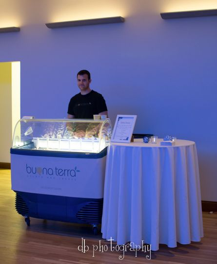 Full Service Gelato Bar setup at weddings and big events