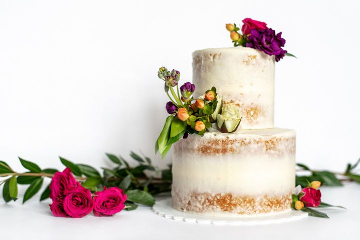 2 tier naked cake with flowers