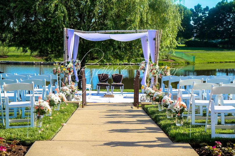 Waterfront wedding setup