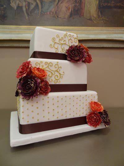 autumncolorweddingfondantcake