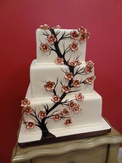paintedcherryblossomweddingcake