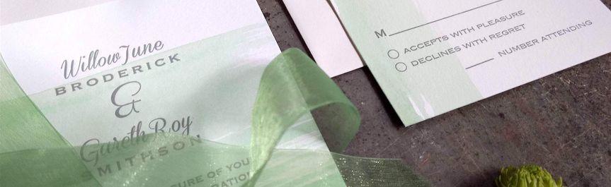 Green watercolor letterpress