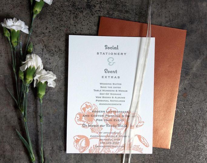 Social stationery poppy design