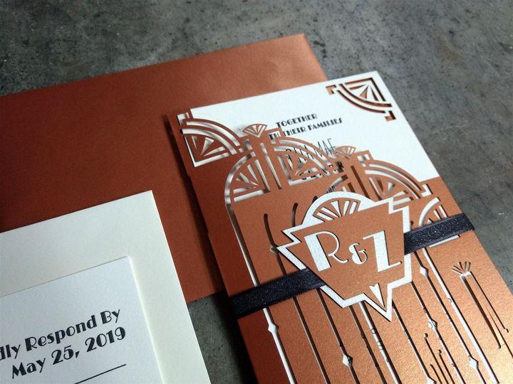 Tmx Copper Art Deco Angle 51 1066335 1557953977 Reinbeck, IA wedding invitation
