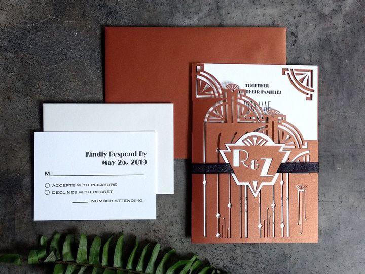 Tmx Copper Art Deco Spread Crop 51 1066335 1557956638 Reinbeck, IA wedding invitation