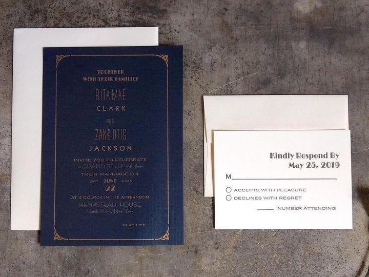 Tmx Navy Art Deco Crop 51 1066335 1557956634 Reinbeck, IA wedding invitation