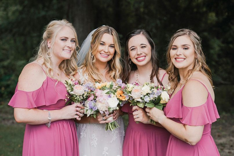 Bride and Bridesmaid in Pink