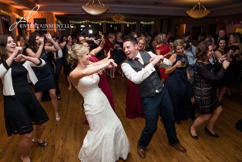 Newlyweds leading the dance