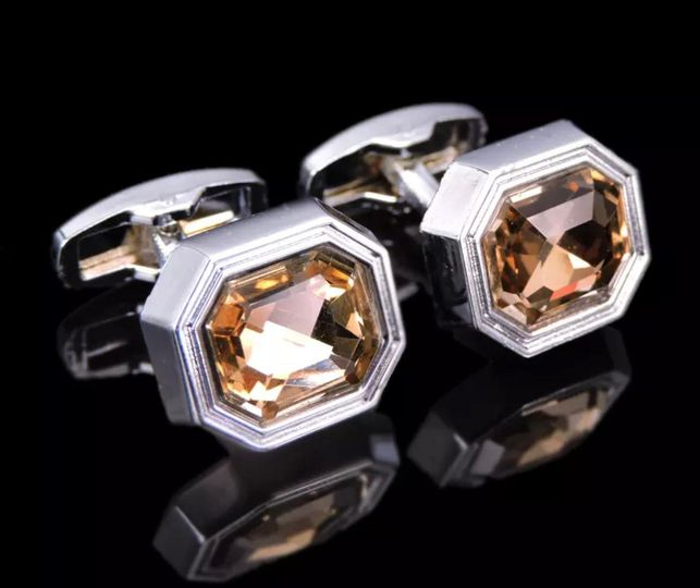 Amber silver octagon cufflinks