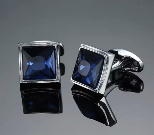 Blue silver square cufflinks