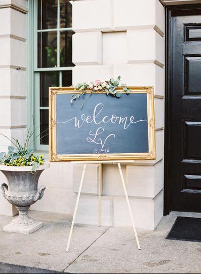 Flourishing Penguin custom chalkboard sign