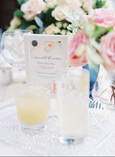 Flourishing Penguin watercolor floral signature cocktail sign