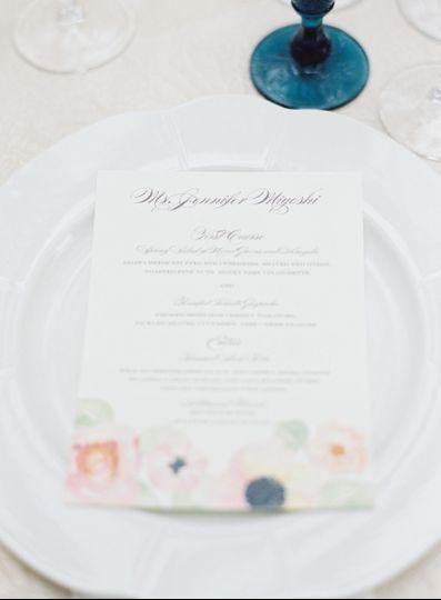 Flourishing Penguin watercolor floral personalized menu