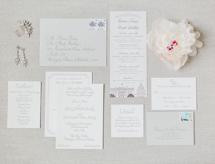 Flourishing Penguin script letterpress white and grey invitations
