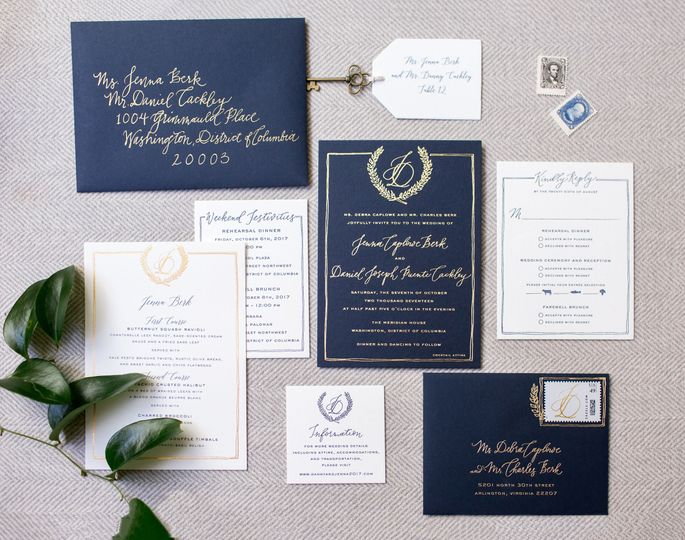 Flourishing Penguin navy and gold foil invitation with hand drawn crest and border and custom...