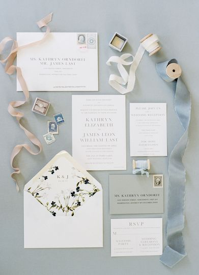 Flourishing Penguin vintage floral envelope liner with clean grey and white invitation