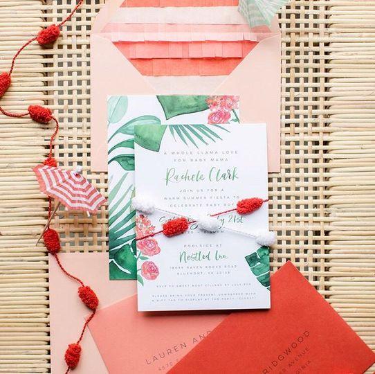 Flourishing Penguin baby shower invitation with watercolor greenery, pinata fringe envelope liners...