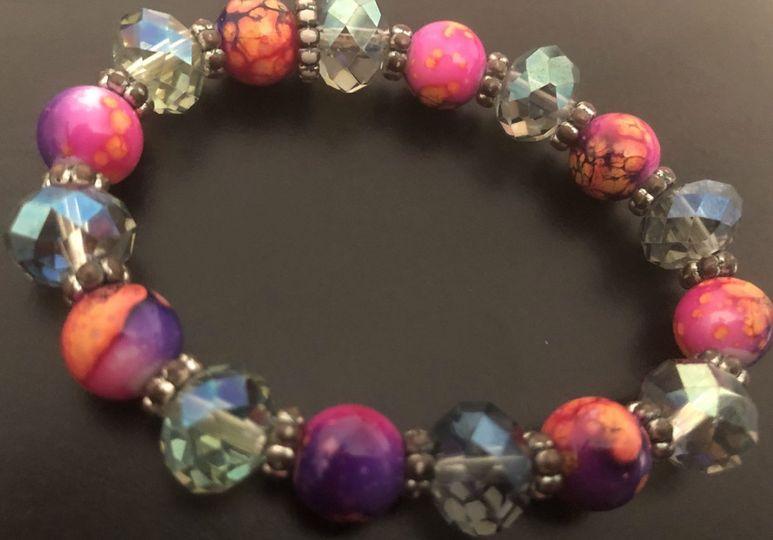 Tie-dye & crystal bracelet