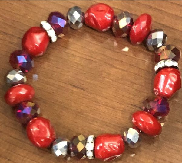 Red, Silver & Crystal Braceley