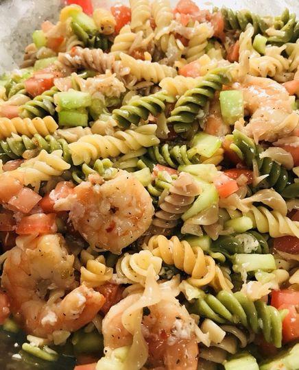 Vegetable pasta shrimp