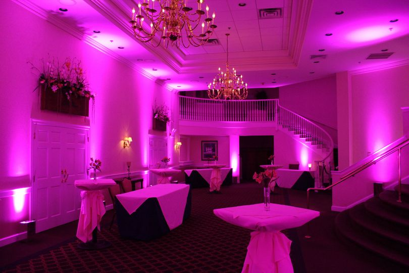 You choose the color of your wedding with the highest quality uplights in the industry from Sparks...