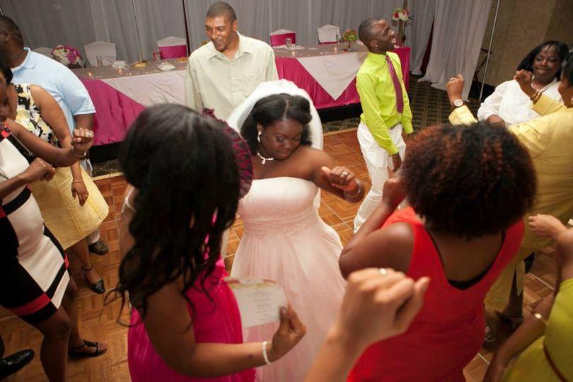 Bride and bridesmaids partying