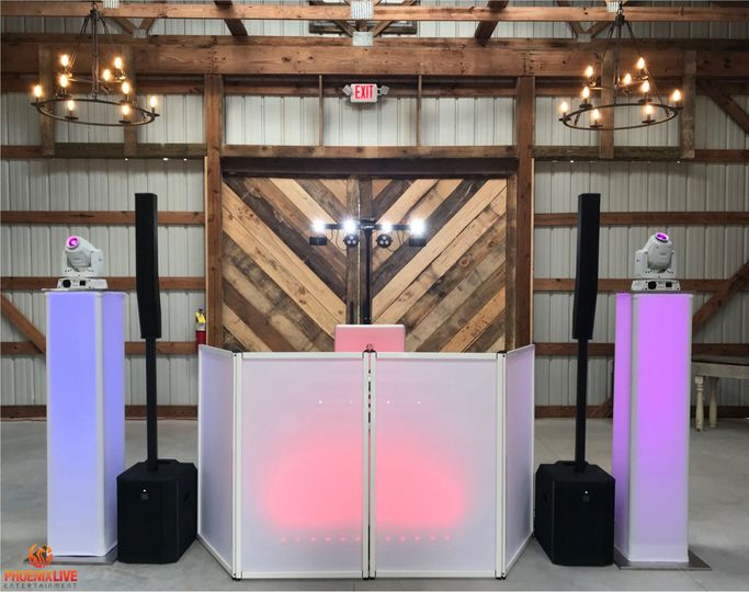 Blue and pink DJ booth