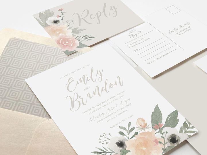 Tmx 1510672559522 Wedblushfloral5sml Minneapolis, MN wedding invitation