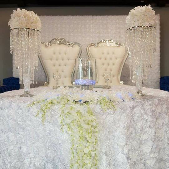 White Throne Sweetheart Table