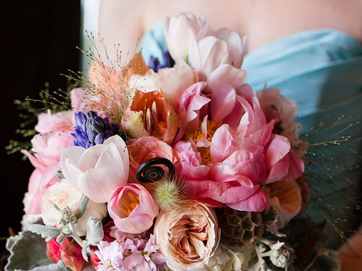 Tmx 1422572614776 Bridalfuchsiapeoniessoftpinktulipsgardenrosesblueh San Jose wedding florist