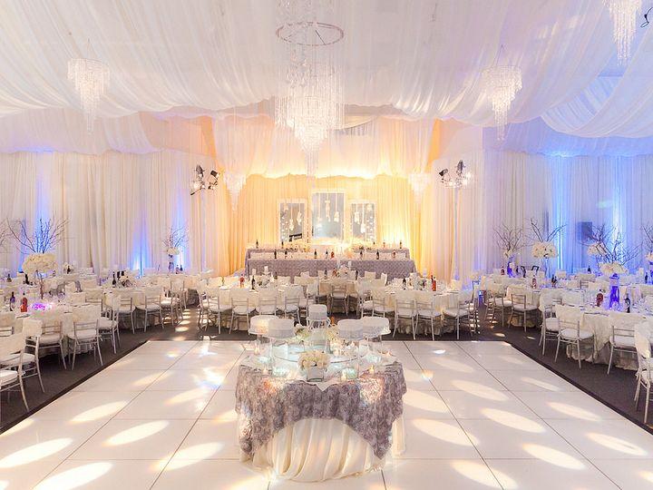 Tmx 1422573737489 Dancefloorcaketableceilingdrapewhitefabricgoboligh San Jose wedding florist