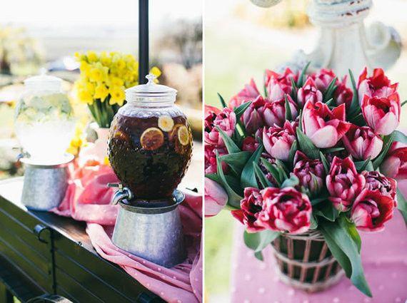 Tmx 1422574681113 Beveragestationarrangementredtulipsyellowdaffodils San Jose wedding florist