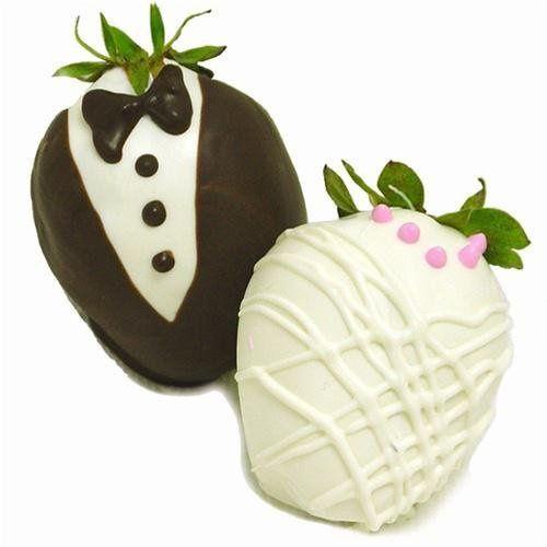 Belgian Chocolate Dipped Bride and Groom Berries