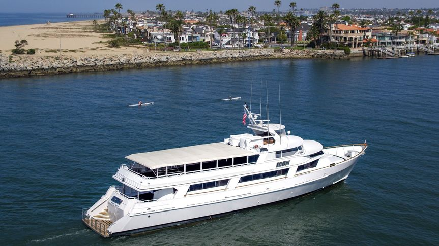 Our 120' yacht ICON in Newport Harbor