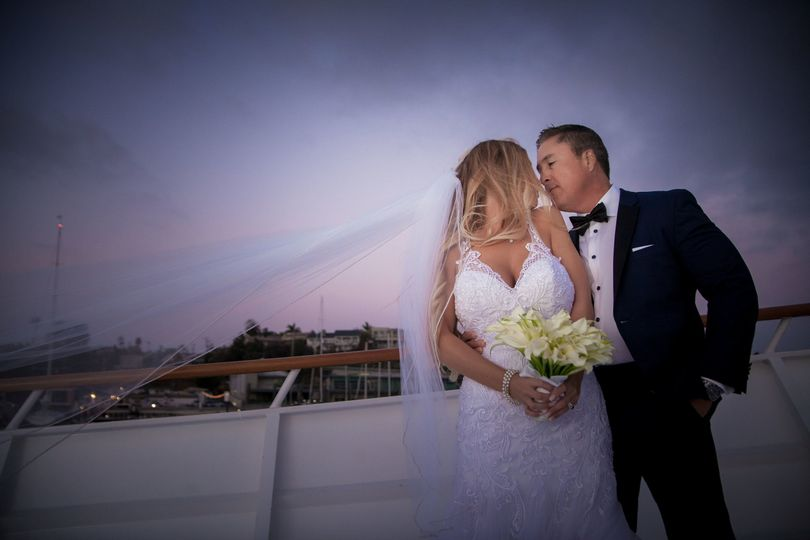 Bride and Groom during sunset on the bow deck of ICON