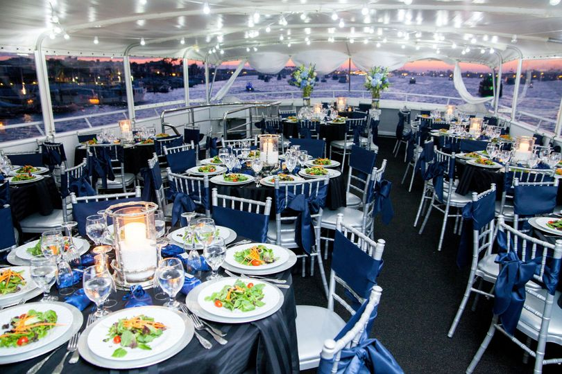 Dinner setup at sunset aboard the yacht ICON